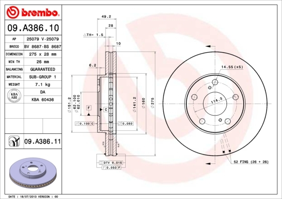 Диск тормозной Brembo 09A3861009A38610