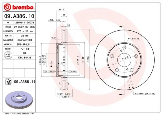 Диск тормозной Brembo 09A38610 комплект 2 шт09A38610