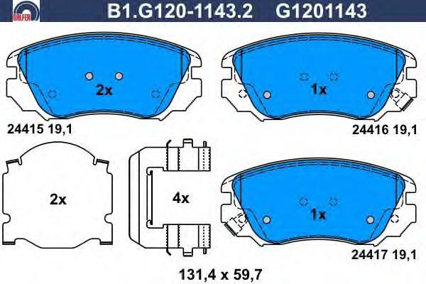 Колодки тормозные передние Galfer B1G12011432B1G12011432
