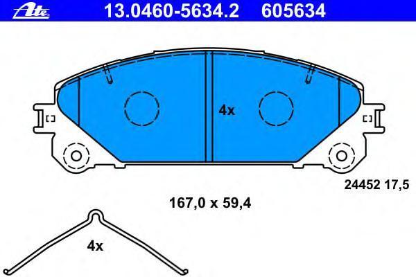 Колодки тормозные передние Ate 1304605634213046056342
