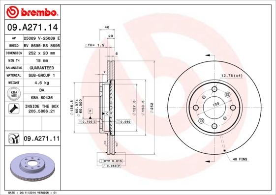 Диск тормозной передний вентилируемый Brembo 09A27114 комплект 2 шт09A27114