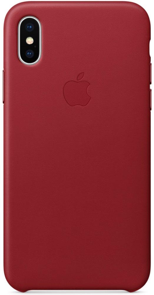 Apple Leather Case чехол для iPhone X, RedMQTE2ZM/AЧехлы от Apple точно повторяют контуры iPhone, не делая его громоздким. Они изготовлены из специально обработанной кожи европейского производства, которая со временем покрывается благородной патиной. Внутренняя поверхность чехла, выполненная из микрофибры, защищает корпус вашего iPhone. А цвет кнопок из обработанного алюминия идеально к нему подходит. Чехол не придётся снимать даже во время беспроводной зарядки.