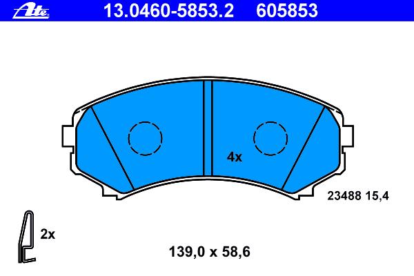 Колодки тормозные дисковые Ate 1304605853213046058532