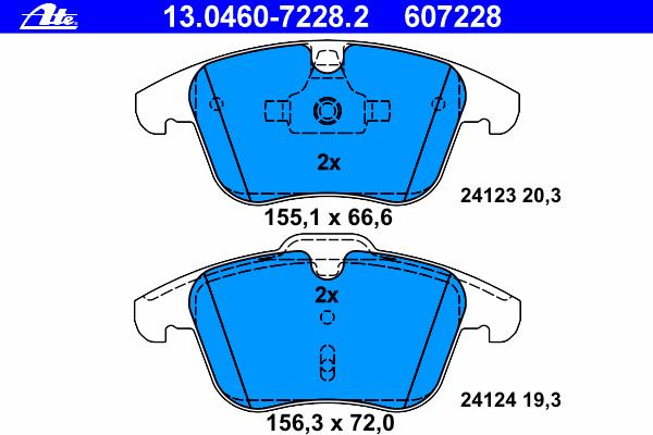 Колодки тормозные дисковые Ate 1304607228213046072282