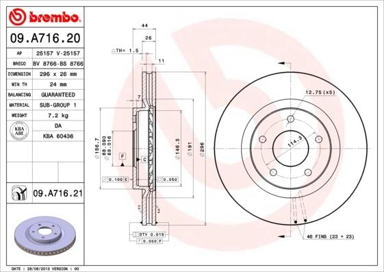 Диск тормозной передний Brembo 09A71620 2 шт09A71620