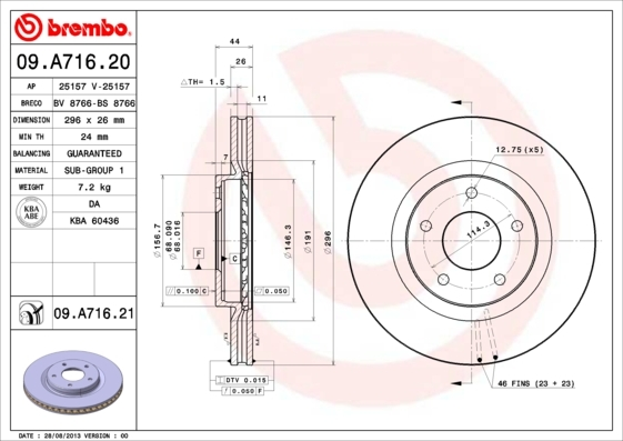 Диск тормозной передний Brembo 09A71620 2 шт комплект 2 шт09A71620
