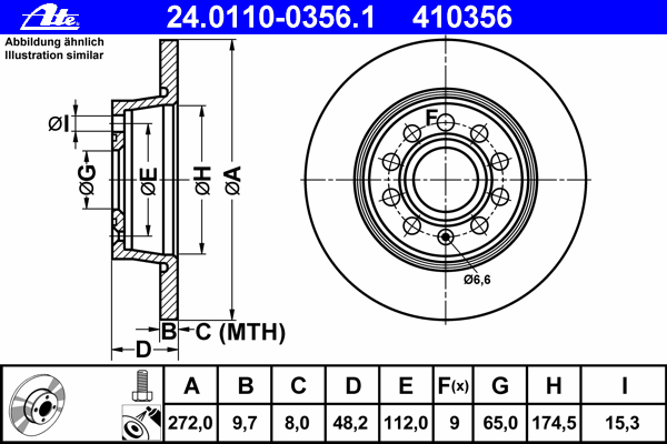 Диск тормозной Ate 2401100356124011003561