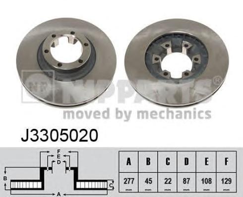 Диск тормозной передний вентилируемый Nipparts J3305020 комплект 2 штJ3305020
