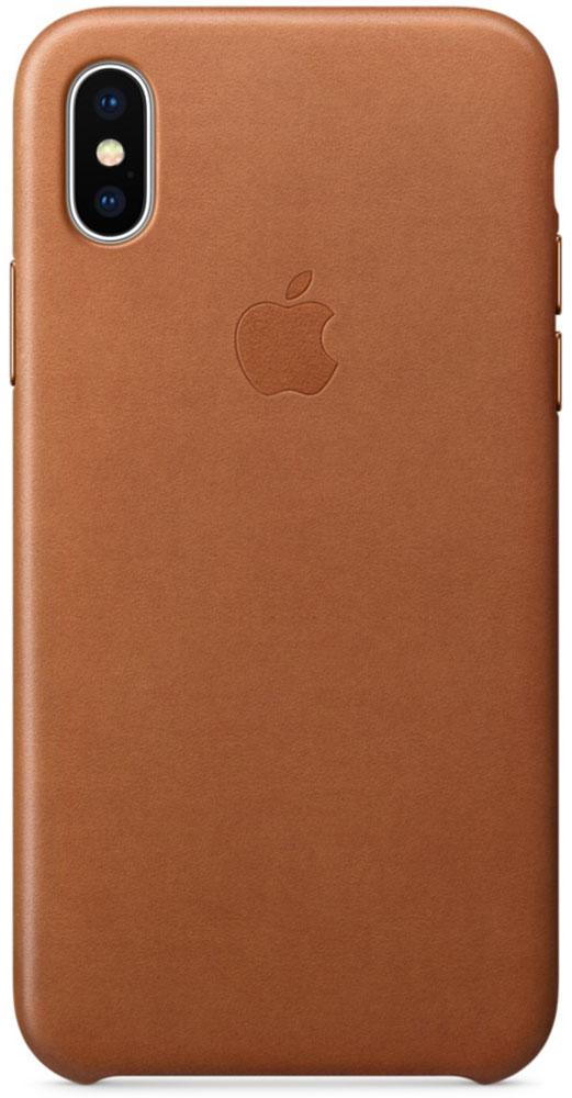 Apple Leather Case чехол для iPhone X, Saddle BrownMQTA2ZM/AЧехлы от Apple точно повторяют контуры iPhone, не делая его громоздким. Они изготовлены из специально обработанной кожи европейского производства, которая со временем покрывается благородной патиной. Внутренняя поверхность чехла, выполненная из микрофибры, защищает корпус вашего iPhone. А цвет кнопок из обработанного алюминия идеально к нему подходит. Чехол не придётся снимать даже во время беспроводной зарядки.