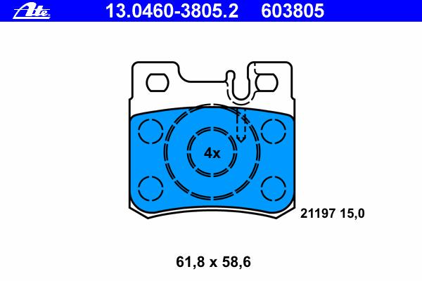 Колодки тормозные дисковые Ate 1304603805213046038052