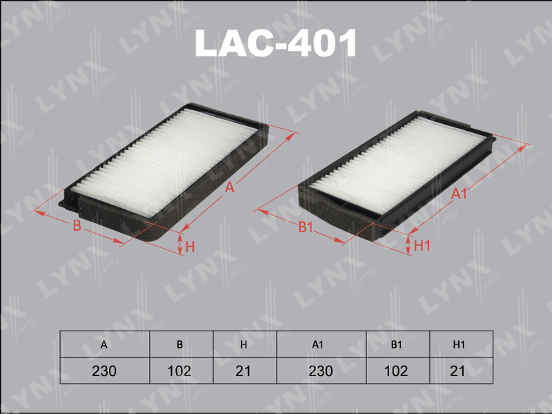 Фильтр салона Lynx LAC401 фильтр воздушный lynx la113