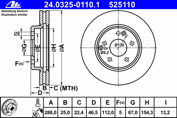Диск тормозной Ate 24032501101 комплект 2 шт24032501101