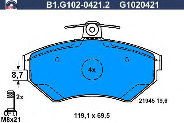 Колодки тормозные дисковые Galfer B1G10204212B1G10204212