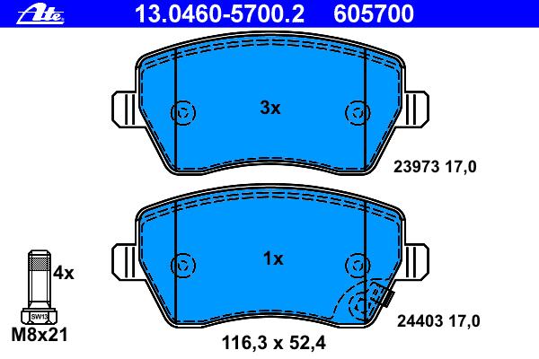 Колодки тормозные дисковые Ate 1304605700213046057002