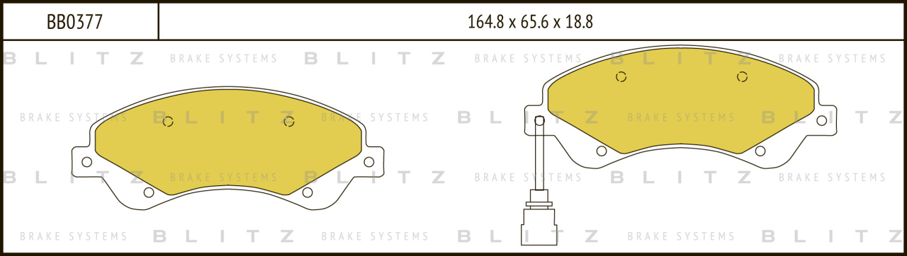 Колодки тормозные дисковые BLITZ автотовары BB0377BB0377