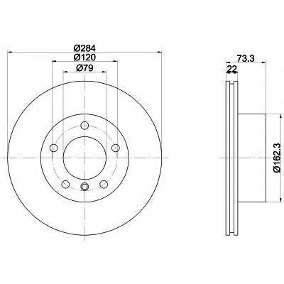 Диск тормозной передний 284x22 min2 Textar 92238403 комплект 2 шт92238403