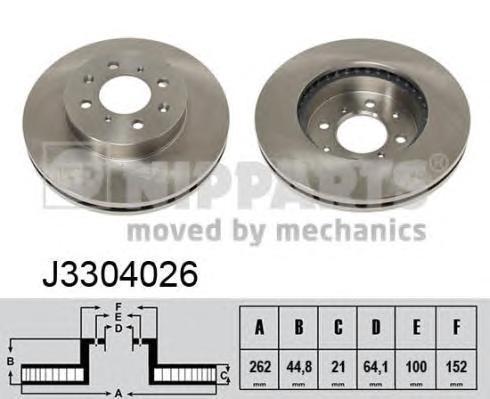 Диск тормозной передний вентилируемый Nipparts J3304026 комплект 2 штJ3304026