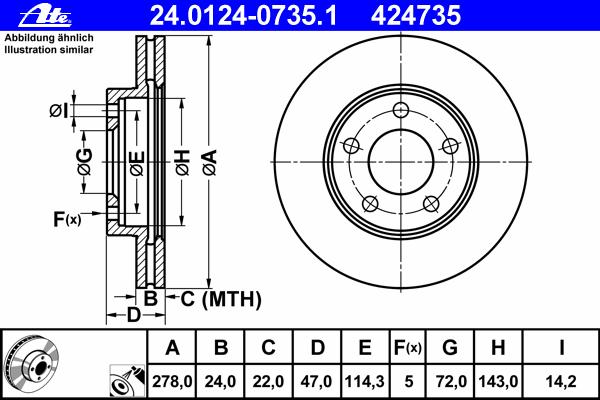 Диск тормозной Ate 2401240735124012407351