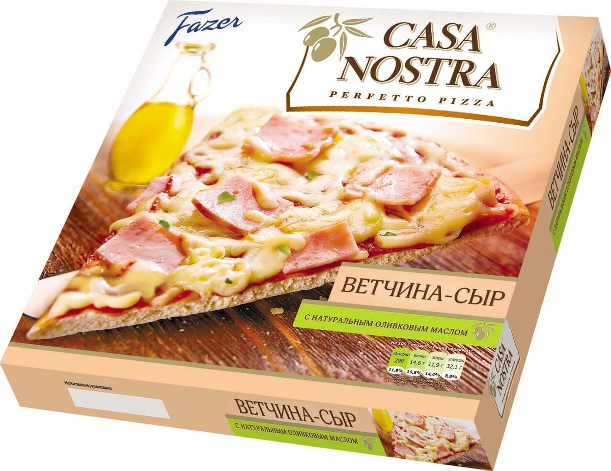 Casa Nostra Пицца с Ветчиной и Сыром, 350 г магнит пицца с фруктами