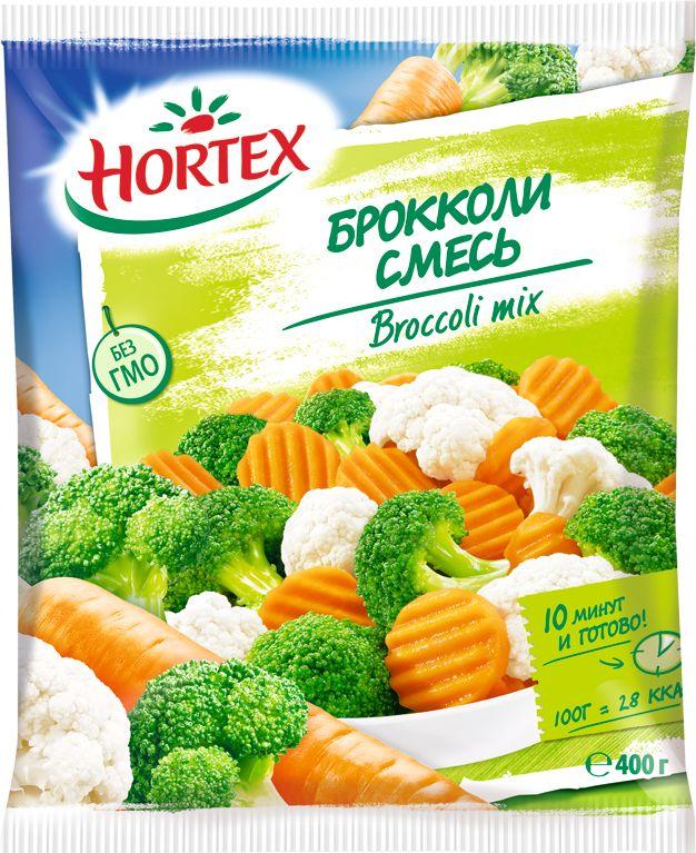 Hortex Смесь с Брокколи, 400 г4607191650227Овощная смесь Hortex содержит в своем составе брокколи, морковь и цветную капусту. В овощной смеси Hortex брокколи содержится много витаминов PP, B1, C, K (калоризатор). Кроме того, она обеспечивает возможность человеку получить огромный запас минеральных веществ, например, калия, железа, меди, марганца, цинка. Такая смесь полезна для иммунитета. Она укрепляетнервную систему, нормализует работу пищеварительных ферментов и перистальтику кишечника.Приготовить овощную смесь Hortex брокколи можно быстро, просто разогревая на сковородке. При этом предварительного размораживания не требуется. Чем меньше времени потратится,чтобы приготовить ее, тем более полезной она останется.Пищевая ценность на 100 г:Белки: 1,9 г.Жиры: 0,3 г.Углеводы: 3,1 г.