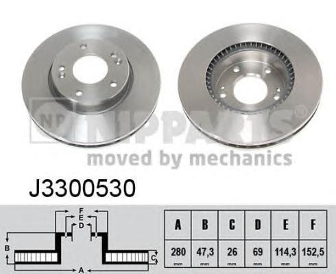 Диск тормозной передний Nipparts J3300530 комплект 2 штJ3300530