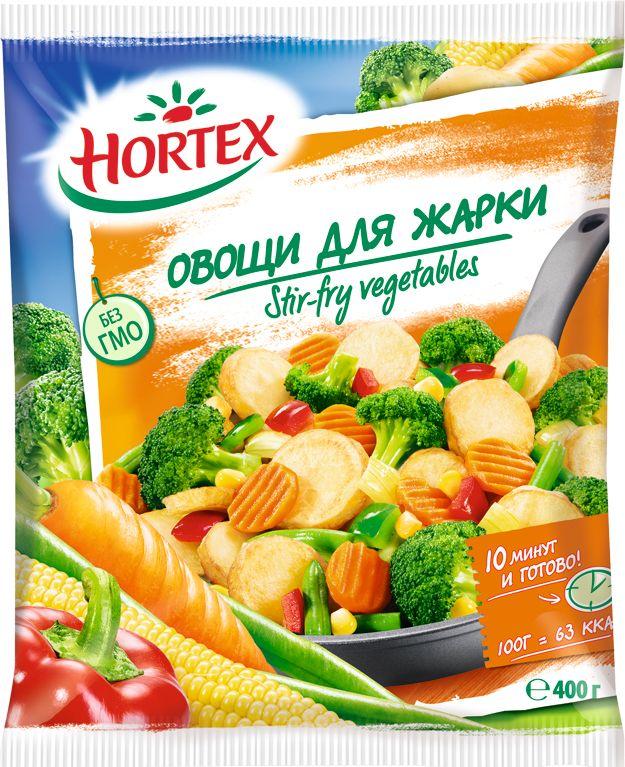 Hortex Овощи для жарки, 400 г5900477012405Смесь Hortex - это продукт без ГМО и консервантов. В его составе: обжаренный с добавлением пальмового масла картофель, соцветия брокколи, нарезанная ломтиком морковь, стручковая фасоль, сладкий болгарский перчик, кукуруза и лук. Технология шоковой заморозки, применяемая на предприятии, позволяет сохранить максимальное количество витаминов в каждом ингредиенте. 10 минут на сковороде - и легкий гарнир или полноценное диетическое блюдо готово.