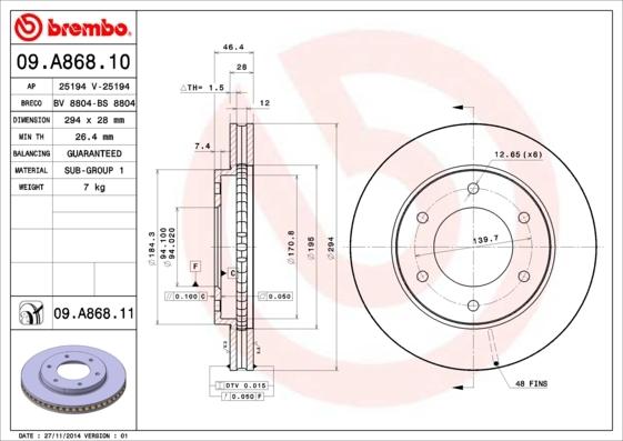Диск тормозной передний Brembo 09A86810 комплект 2 шт09A86810