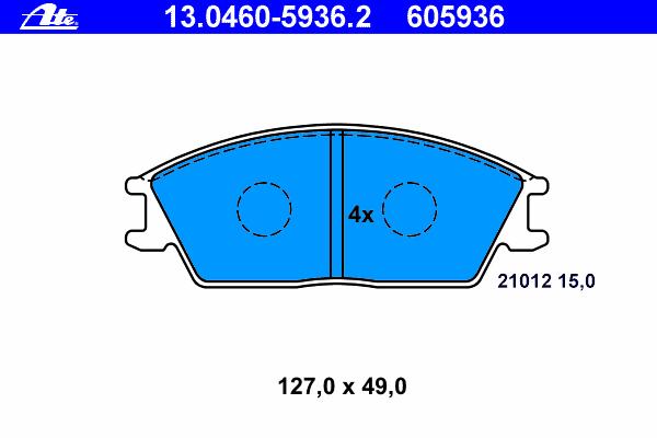 Колодки тормозные дисковые Ate 1304605936213046059362