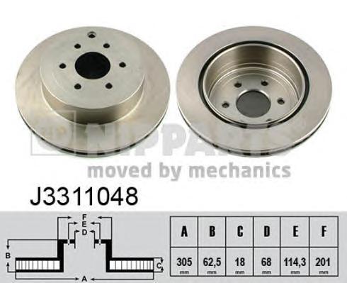 Диск тормозной задний Nipparts J3311048 комплект 2 штJ3311048