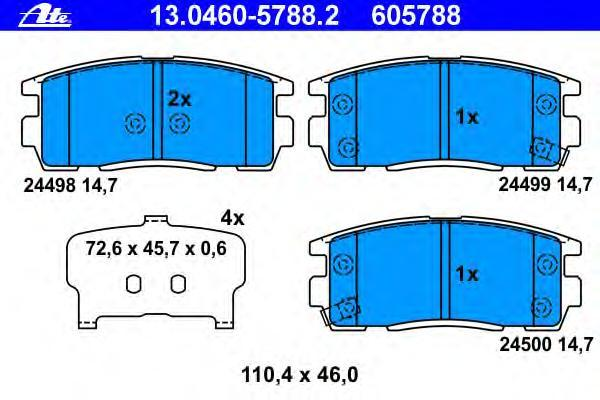 Колодки тормозные Ate 1304605788213046057882