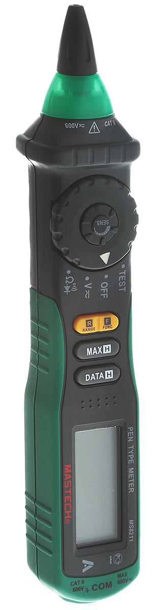 Мультиметр-пробник цифровой Mastech MS821113-2044Цифровой мультиметр Mastech - карманный прибор, позволяющий измерять постоянное и переменное напряжение,сопротивление. Имеет режим прозвонки, диод-тест. Особенность этого мультиметра заключается в наличиибесконтактного датчика напряжения (NCV) с регулировкой чувствительности. Мультиметр имеет звуковую исветовую индикацию. Модель работает от 2 батареек 1.5 В типа ААА.В комплект входят: мультиметр-пробник Mastech, тестовый щуп (1 шт.), кейс, 2 батарейки типа AAA, инструкция.Характеристики: Измерение постоянного напряжения 200 мВ / 2 В / 20 В / 200 В / 600 В (±0.7%+2). Измерение переменного напряжения 200 мВ / 2 В / 20 В / 200 В (±0.8%+3), 600 В (±1.0%+3).Измерение сопротивления 200 Ом / 2 кОм / 20 кОм / 200 кОм / 2 МОм / 20 МОм (±1%). Электрический импеданс: менее 50 Ом.Источник питания: 2 х 1,5 В типа AAA. Размер (см): 20,8 х 3,8 х 2,9.
