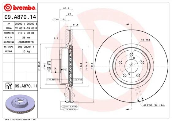 Диск тормозной передний Brembo 09A8701409A87014
