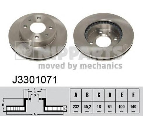 Диск тормозной передний вентилируемый Nipparts J3301071 комплект 2 штJ3301071