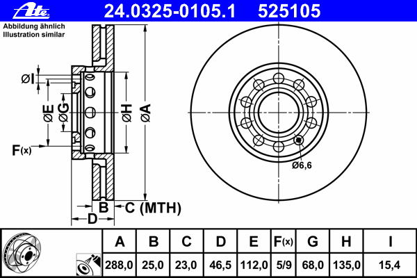 Диск тормозной Ate 24032501051 комплект 2 шт24032501051
