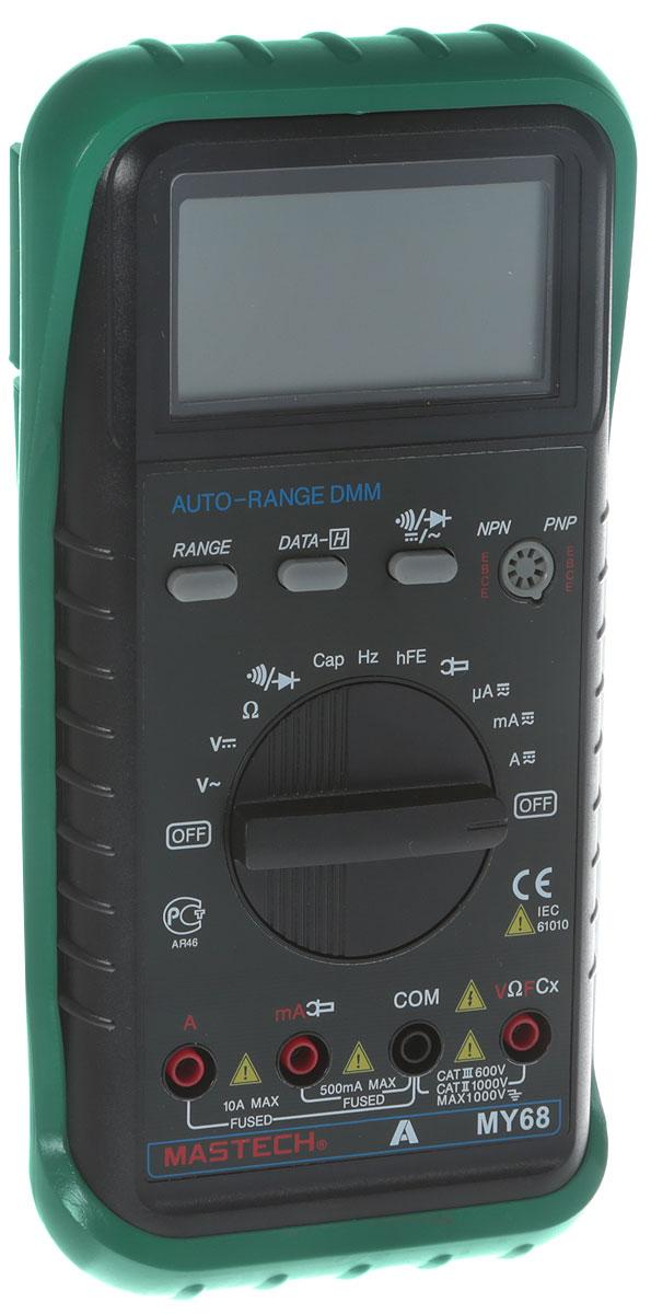 Мультиметр универсальный Mastech MY6813-2058Цифровой мультиметр Mastech предназначен для использования в лабораториях, цехах, для радиолюбителей идля работы в домашних условиях. Мультиметр является одной из самых популярных моделей в силу хорошихфункциональных возможностей. Имеет ручной и автоматический выбор диапазона измерения. Цифровой ЖКдисплей имеет разрядность 33/4. В комплект входит: мультиметр,чехол, инструкция. Характеристки: Разрядность шкалы мультиметра: 3260 отсчетов. Постоянное напряжение: 400мВ/4В/40В/400В (±0,7%), 1000В (±0,8%). Переменное напряжение: 400мВ (±3,0%), 4В/40В/400В (±0,8%), 750В (±1,0%). Постоянный ток: 400мкА/4000мкА/40мA/400мA (±1,2%), 10A (±2,0%). Переменный ток: 400мкА/4000мкА/40мA/400мA (±1,5%), 10A (±3,0%). Сопротивление: 400Ом/4кОм/40кОм/400кОм/4МОм (±1,2%), 40МОм (±2,0%). Емкость конденсаторов: 4нФ (±5,0%), 40нФ/400нФ/4мкФ/40мкФ/200мкФ (±3,0%). Частота: 10Гц/100Гц/1000Гц/10кГц/200кГц (±2,0%). Коэффициент усиления транзисторов по току: 1 - 1000. Питание батареи: 9 В.Размер (см): 9,1 х 18,9 х 3,1.