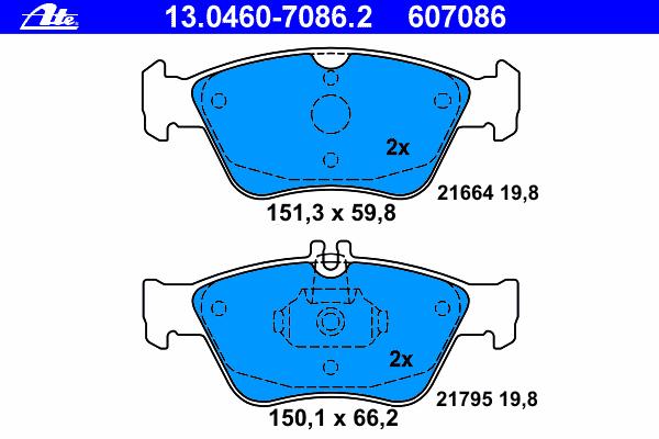 Колодки тормозные дисковые Ate 1304607086213046070862
