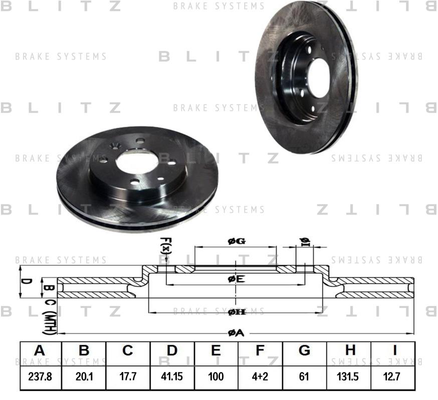Диск тормозной BLITZ автотовары BS0108BS0108
