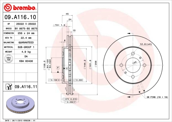 Диск тормозной Brembo 09A1161009A11610