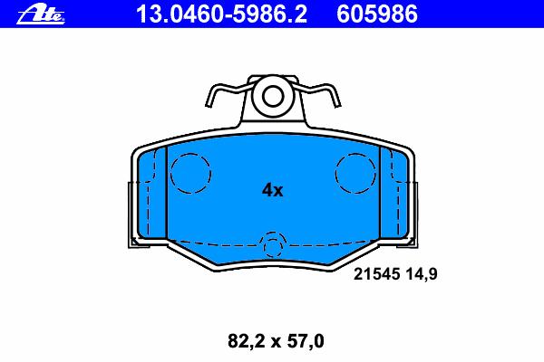 Колодки тормозные дисковые Ate 1304605986213046059862