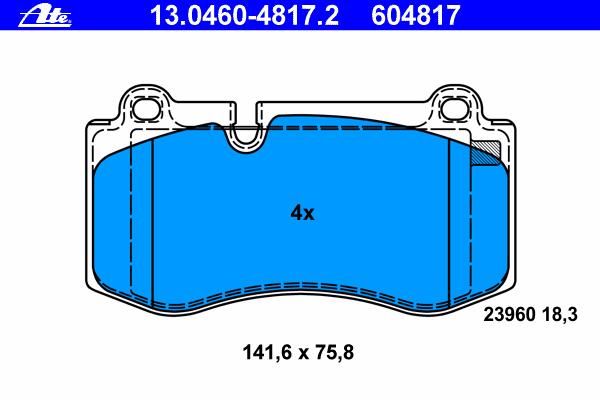 Колодки тормозные дисковые Ate 1304604817213046048172
