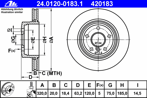 Диск тормозной Ate 24012001831 комплект 2 шт24012001831