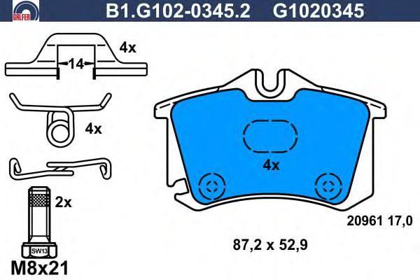 Колодки тормозные дисковые Galfer B1G10203452B1G10203452