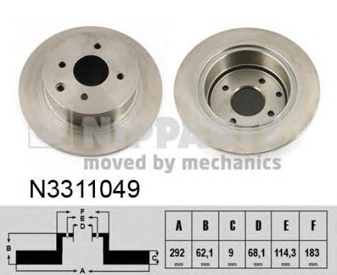Диск тормозной задний Nipparts N3311049 комплект 2 штN3311049