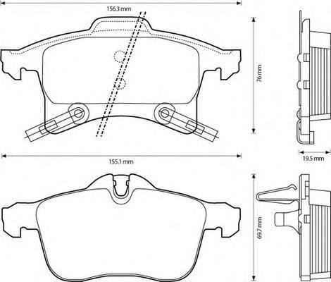 Колодки тормозные дисковые 4 шт, передние Jurid 573153J573153J