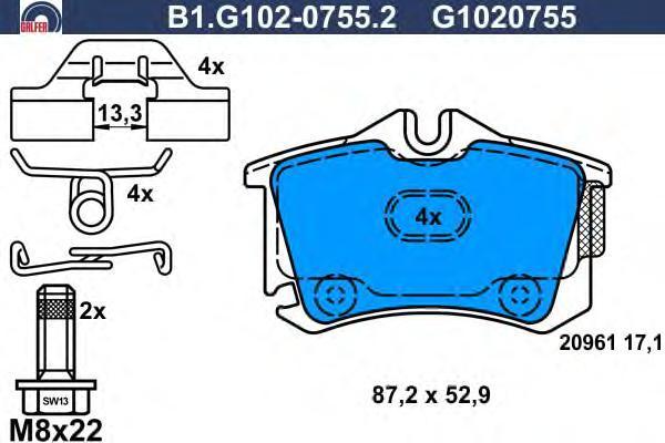 Колодки тормозные дисковые Galfer B1G10207552B1G10207552