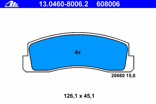 Колодки тормозные дисковые Ate 1304608006213046080062