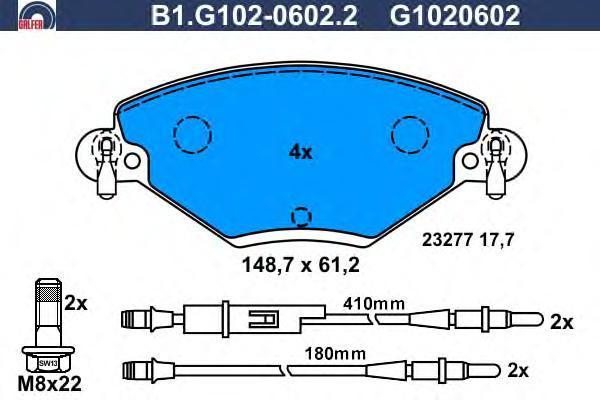 Колодки тормозные Galfer B1G10206022B1G10206022