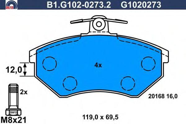 Колодки тормозные дисковые Galfer B1G10202732B1G10202732