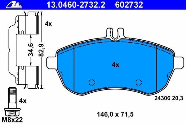 Колодки тормозные дисковые Ate 1304602732213046027322