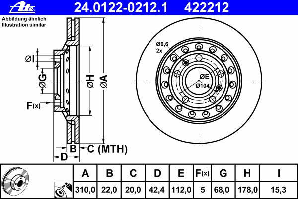 Диск тормозной Ate 24012202121 комплект 2 шт24012202121